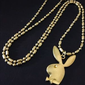 "Jewelry - 24""/ 10K Gold Plated Necklace with Playboy Bunny"